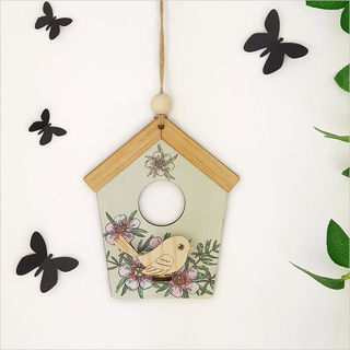 Birdhouse Wall Art: Green Manuka
