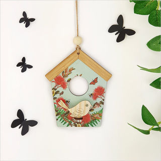 Birdhouse Wall Art: Green Pohutukawa