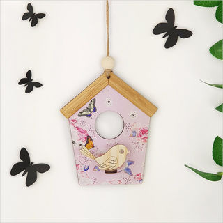 Birdhouse Wall Art: Pink Rose