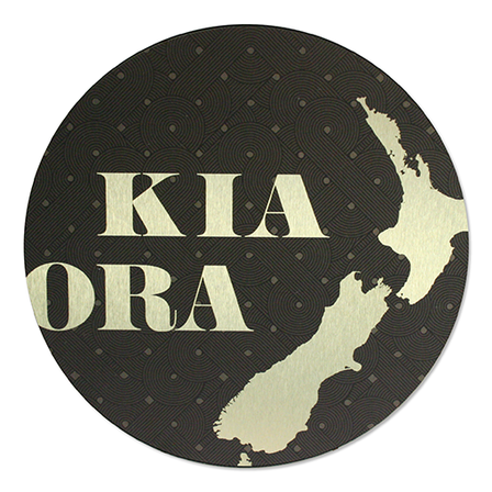 Printed ACM Gold Circle: Kia Ora