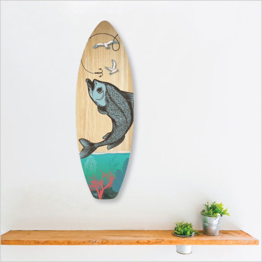 Ply Surfboard Art: Fishing ( Wood )