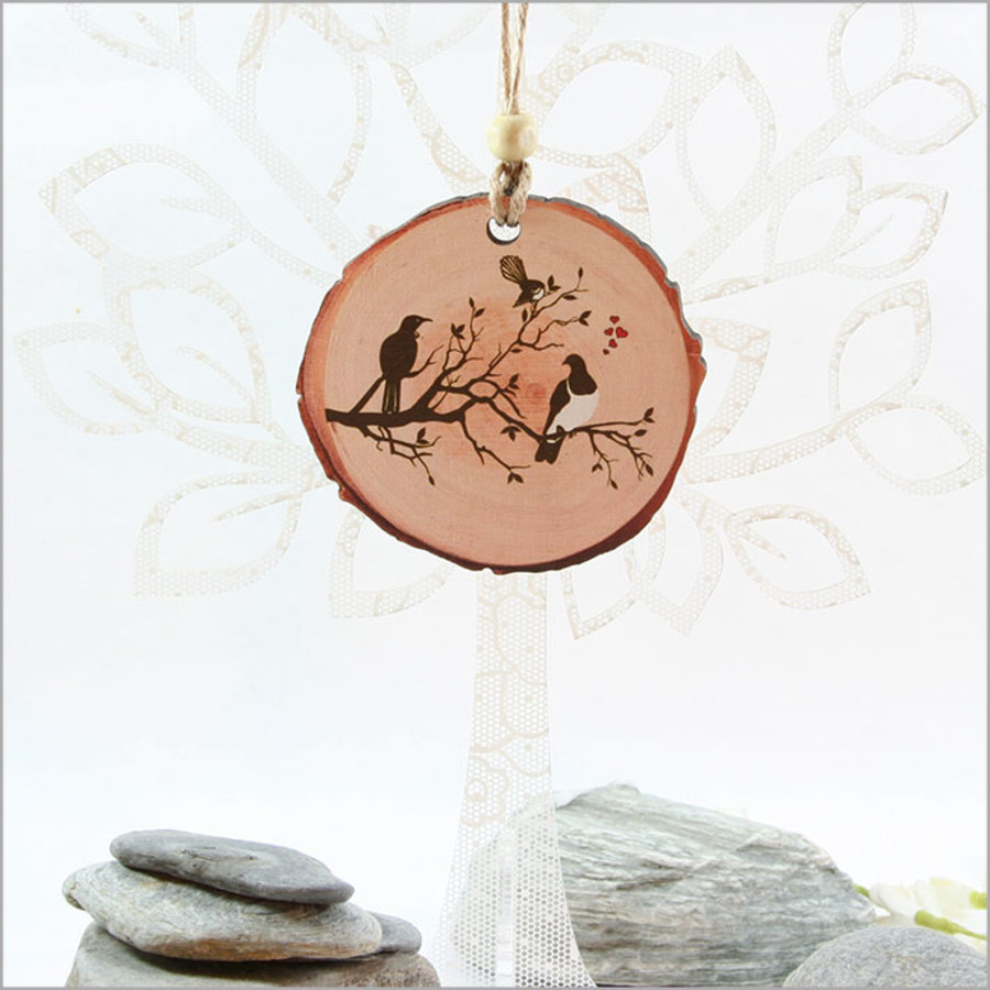 Wood Slice Ornament : Birds on Tree