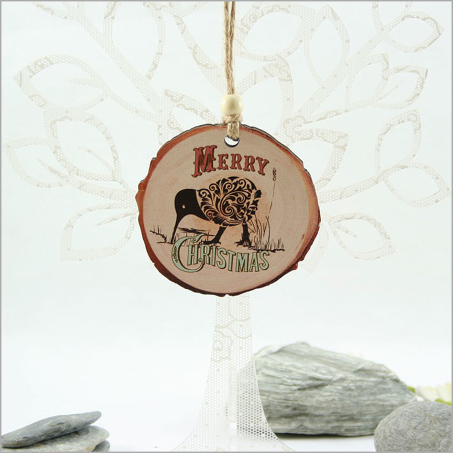 Wood Slice Ornament : Filigree Kiwi with Xmas
