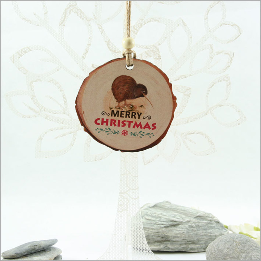 Wood Slice Ornament : Kiwi with Xmas