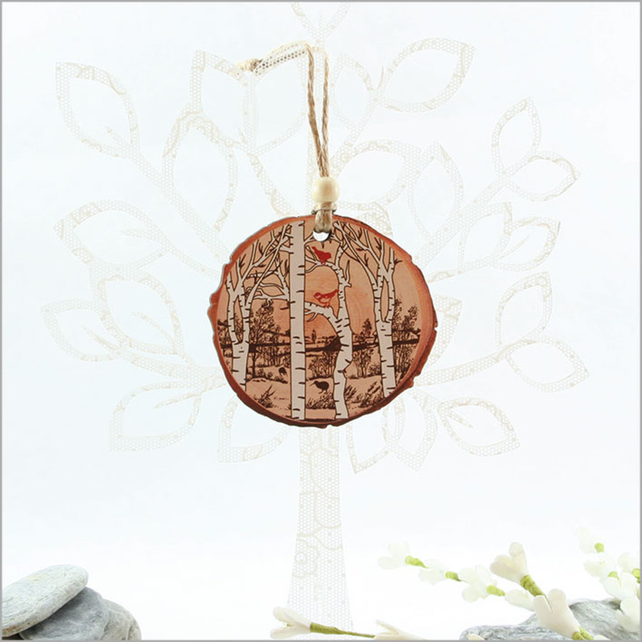 Wood Slice Ornament : Birds in the Woods