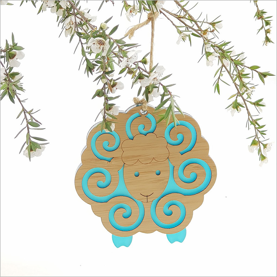 Bamboo+Satin Acrylic Ornament: Sheep
