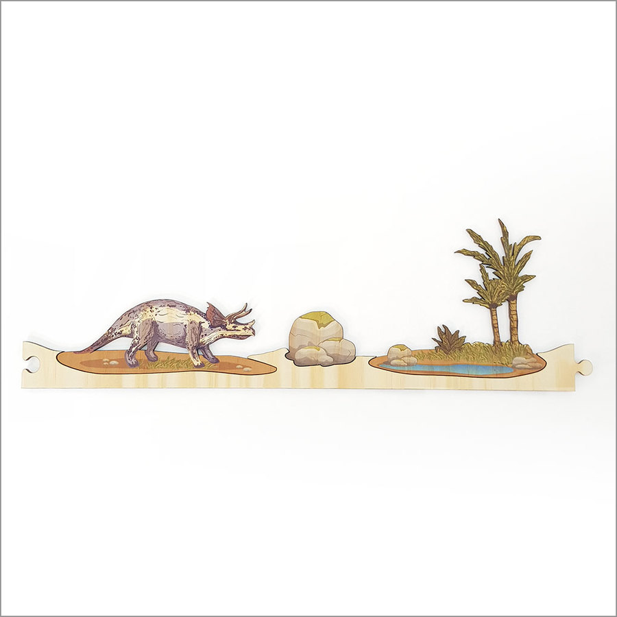 Pine Jigsaw strip: Dinosaurs Section 1