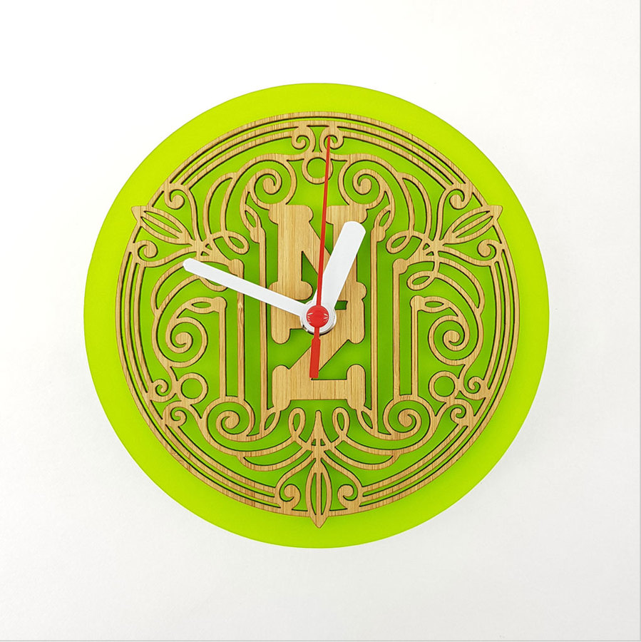 Clock: Deco NZ (Bamboo+Lime Green Acrylic)