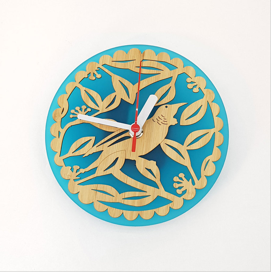 Clock: Tui on Pohutukawa (Bamboo+Teal Green Acrylic)