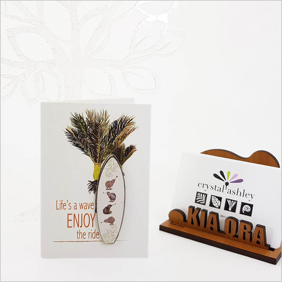 Gift Card with embellishment: Kiwis Surfboard