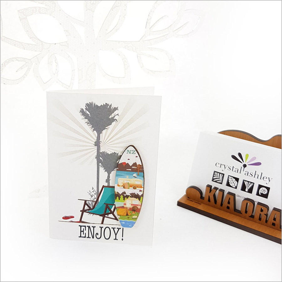 Gift Card with embellishment: Enjoy Surfboard