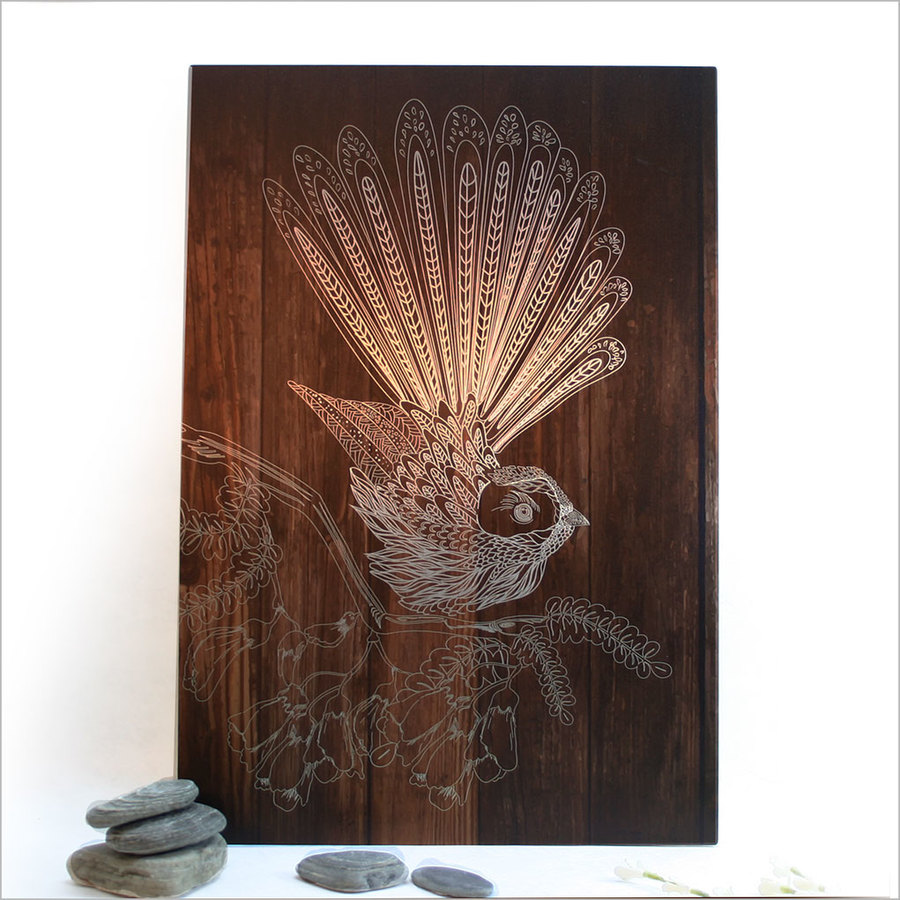 ACM Printed Rectangle : Dark Wood Fantail (Small)