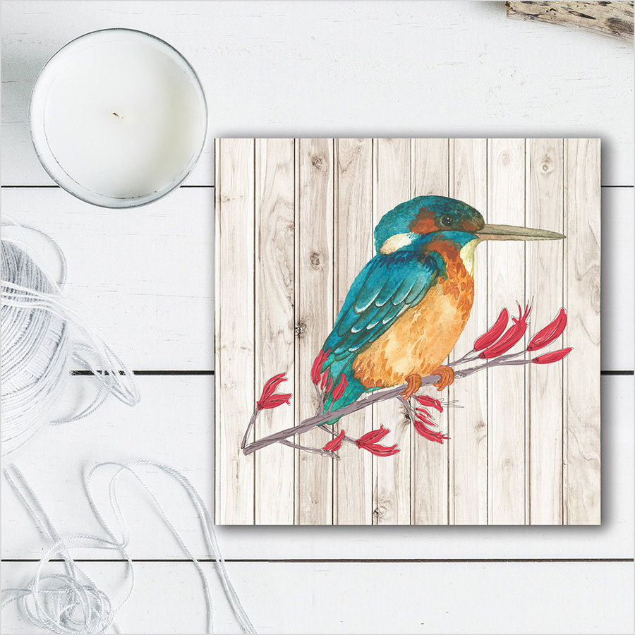 Plywood Art Block: LW Kingfisher