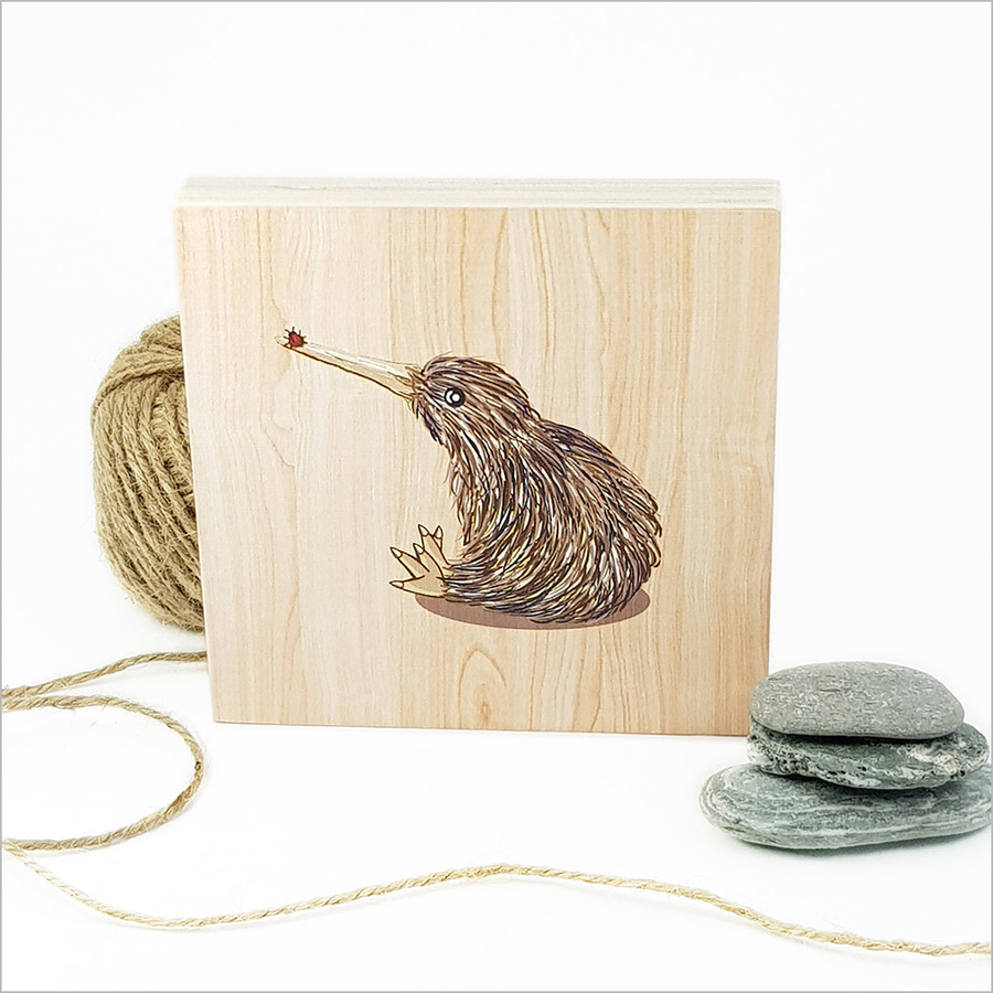 Plywood Art Block: Kiwi with Lady bug