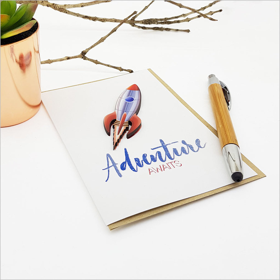 Greeting Card with embellishment: Adventure Awaits (Space ship)