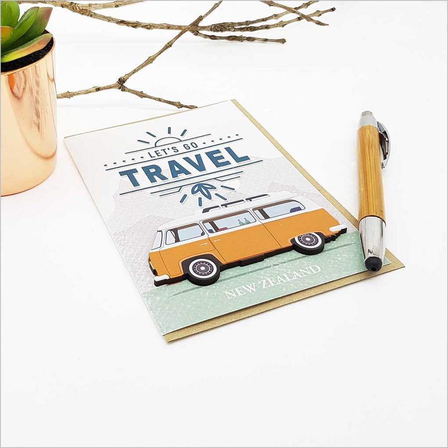Greeting Card with embellishment: Let's Go Travel