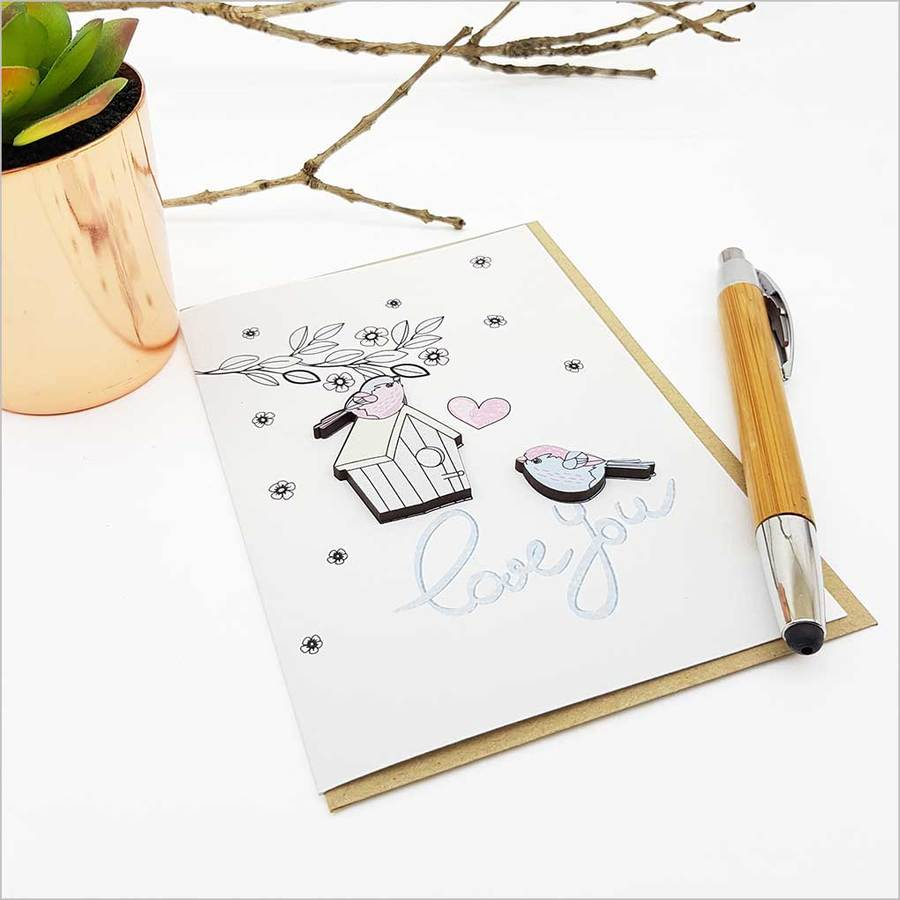 Greeting Card with embellishment: Love You (Birds)