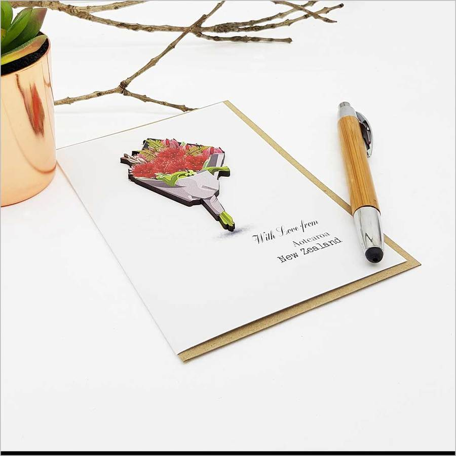 Greeting Card with embellishment: Pohutukawa Bouquet