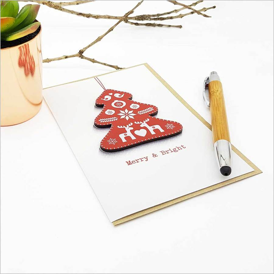 Greeting Card with embellishment: Merry & Bright