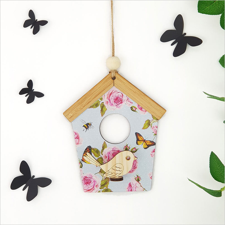 Birdhouse Wall Art: Blue Spots